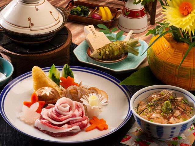 画像:猪鍋とわさび丼(イメージ)